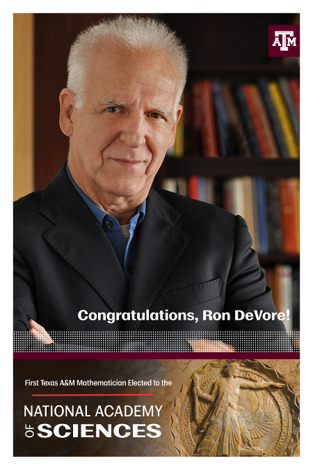Congratulation, Ron Devore! First Texas A&M Mathematician elected to the Nation Academy of Sciences